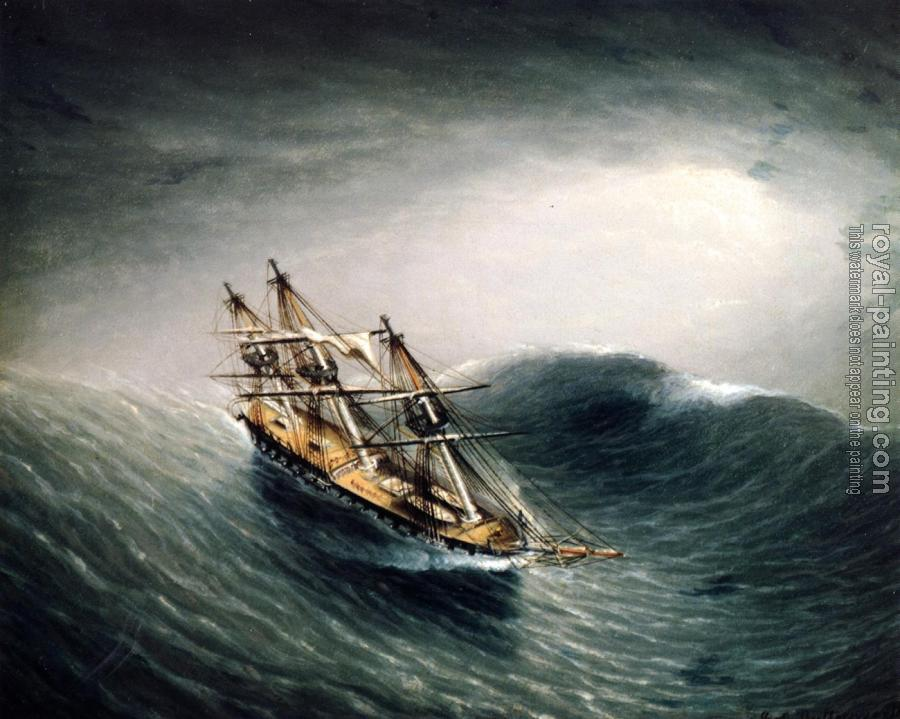 James E Buttersworth : Schooner in a Stormy Sea