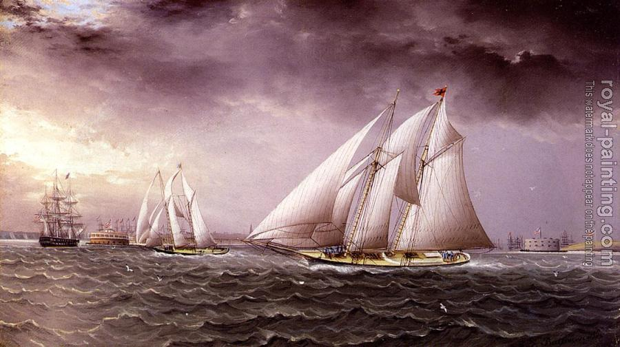 James E Buttersworth : Schooner Race in New York Harbor