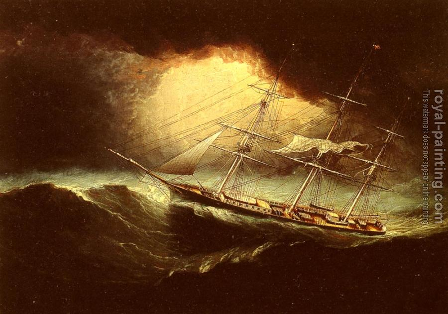 James E Buttersworth : Ship In A Storm