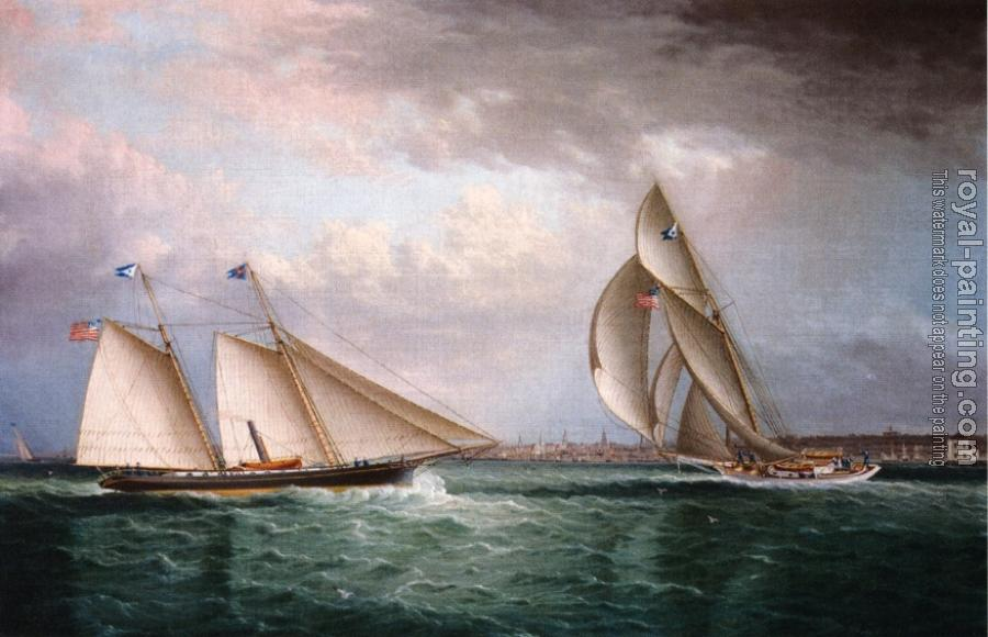 James E Buttersworth : The Schooner Triton and The Sloop Christine Racing in Newport Harbor