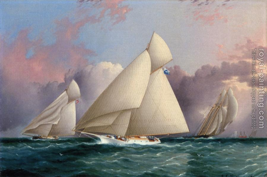 James E Buttersworth : Yacht Sappho Beating to the Wind