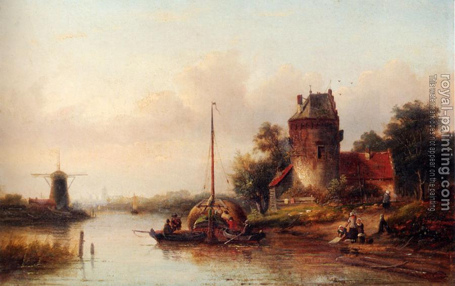 Jan Jacob Coenraad Spohler : A River Landscape In Summer With A Moored Haybarge By A Fortified Farmhouse