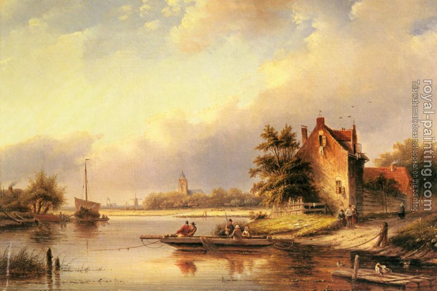 Jan Jacob Coenraad Spohler : A Summers Day At The Ferry Crossing