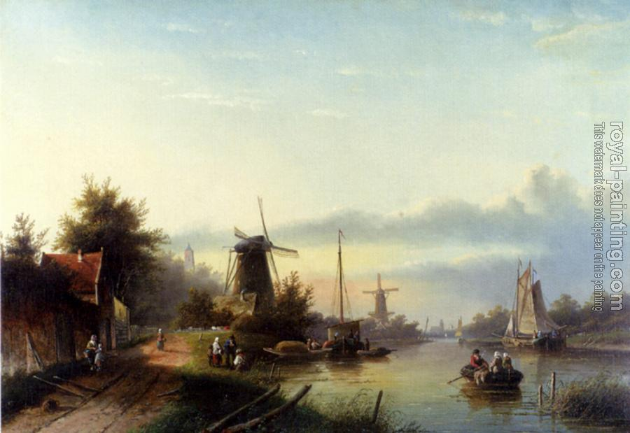 Jan Jacob Coenraad Spohler : Boats On A Dutch Canal