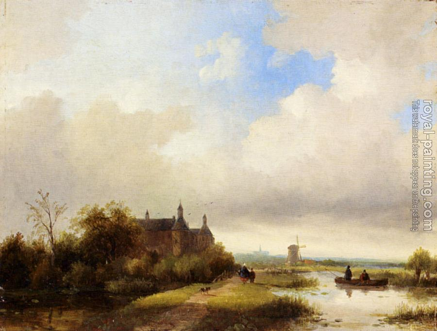 Jan Jacob Coenraad Spohler : Travellers On A Path Haarlem In The Distance