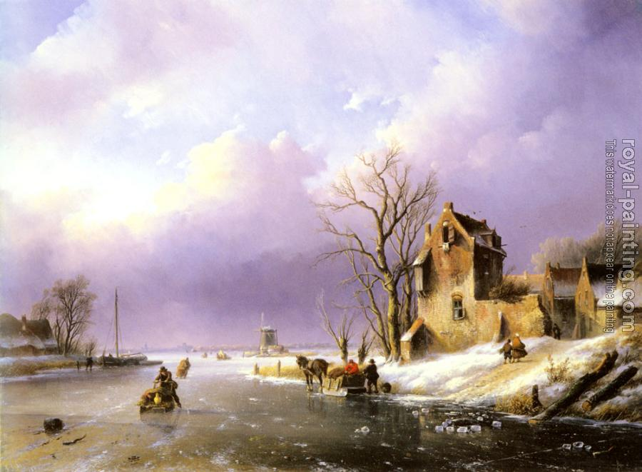 Jan Jacob Coenraad Spohler : Winter landscape With Figures On A Frozen River