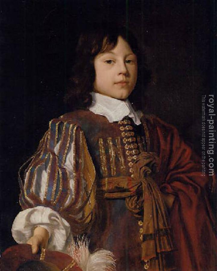 Jan Mytens : Portrait of a young gentleman in a burgundy doublet with slashed sleeves