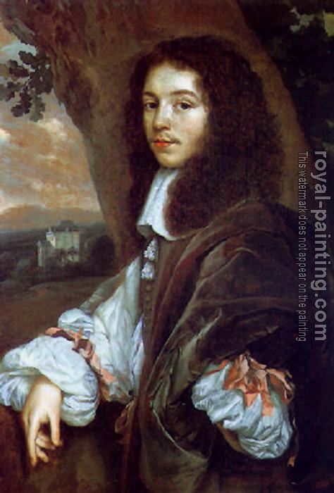 Jan Mytens : Portrait of Christaen Huygens in a landscape a country house beyond