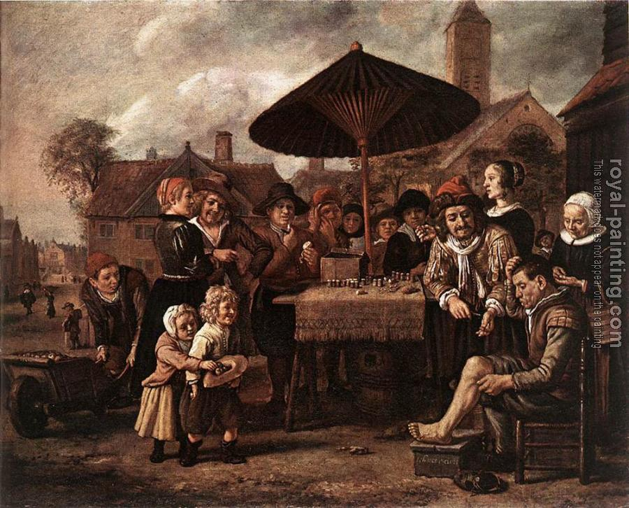 Jan Victors : Market Scene With A Quack At His Stall