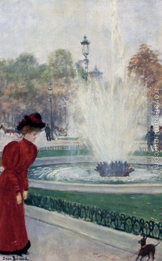Jean Beraud : Parisienne Au Rond Point Des Champs Elysees
