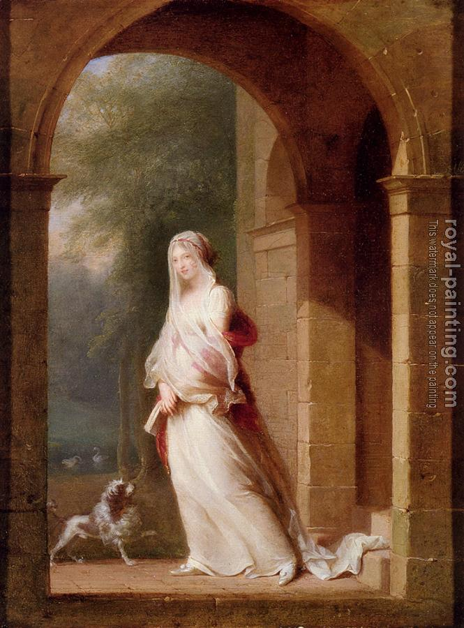Jean-Baptiste Mallet : A Young Woman Standing In An Archway