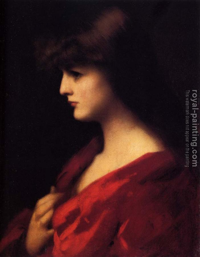Jean-Jacques Henner : Study Of A Woman In Red