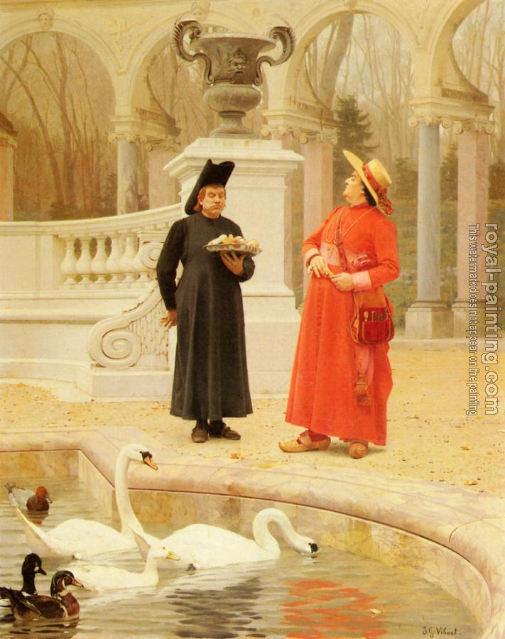 Jehan Georges Vibert : A Plate Of Cakes