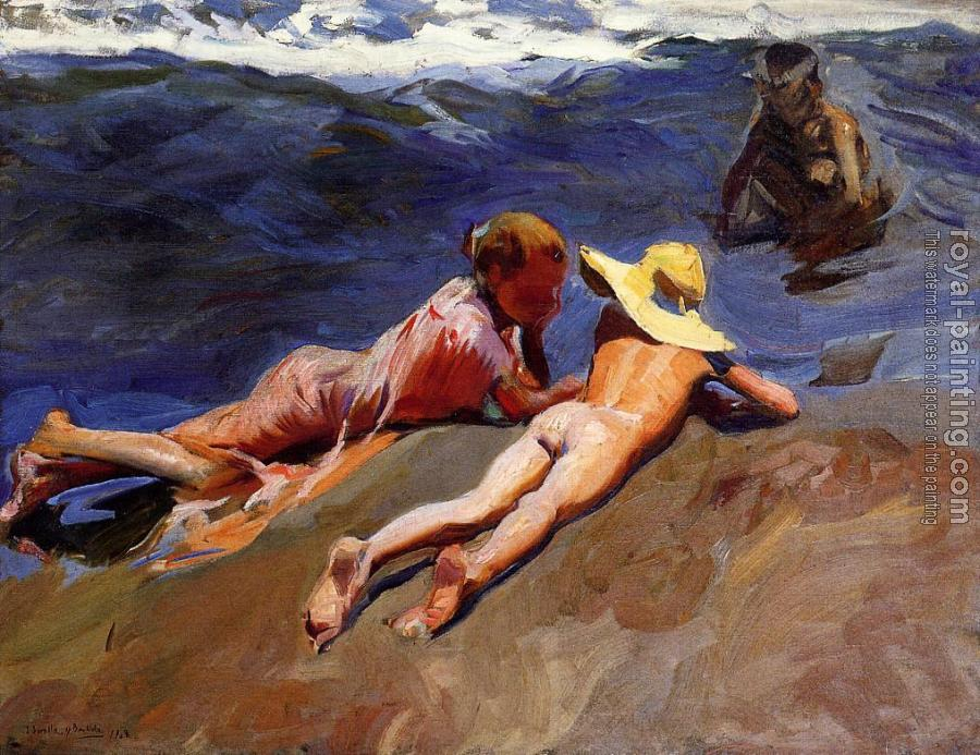 Joaquin Sorolla Y Bastida : On the Sand Valencia Beach