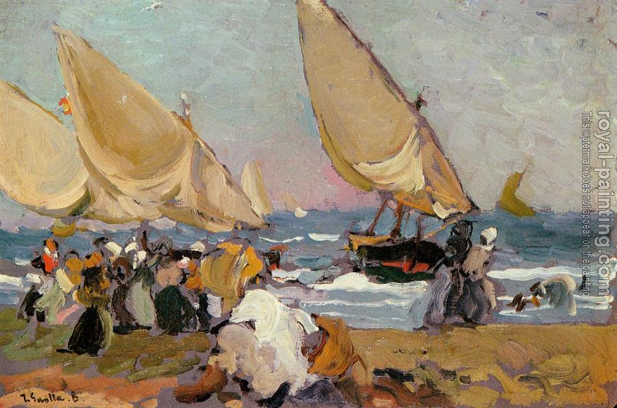 Joaquin Sorolla Y Bastida : Sailing Vessels on a Breezy Day Valencia