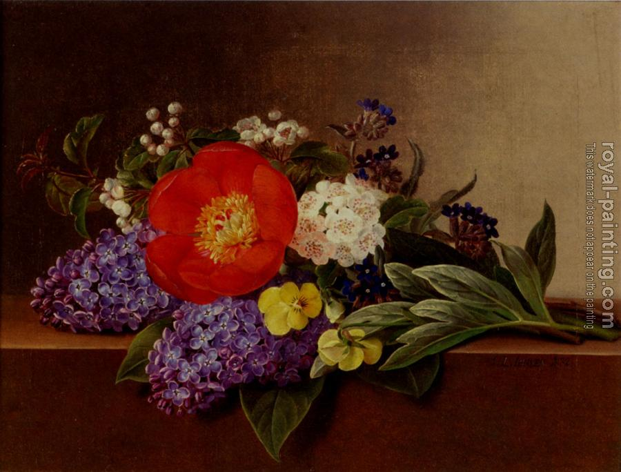 Johan Laurentz Jensen : Lilacs Violets Pansies Hawthorn Cuttings And Peonies On A Marble Ledge