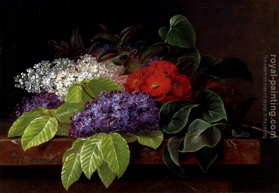 Johan Laurentz Jensen : White And Purple Lilacs Camellia And Beech Leaves On A Marble Ledge