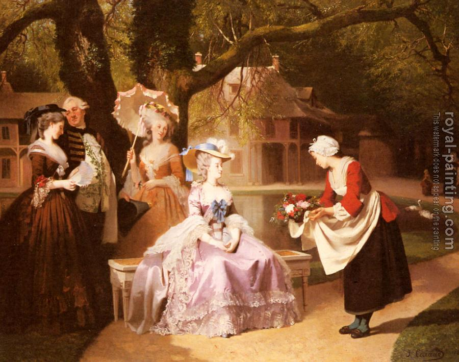 Joseph Caraud : Marie Antoinette and Louis XVI in the Garden of the Tuilerie