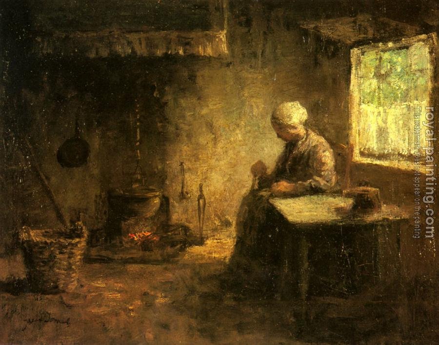 Jozef Israels : Peasant Woman By A Hearth