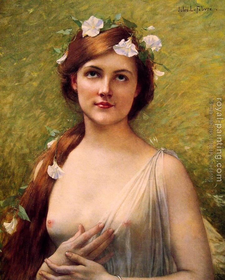 Jules Joseph Lefebvre : Young woman with morning glories in her hair