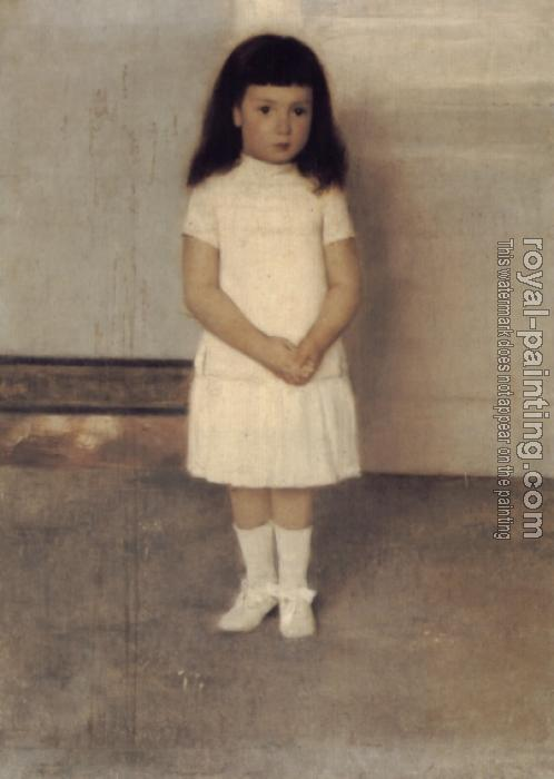 Fernand Khnopff : A Portrait of a Standing Girl in White