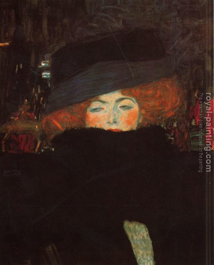 Gustav Klimt : Lady with Hat and Featherboa