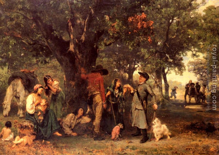 Ludwig Knaus : Gypsies in the Forest