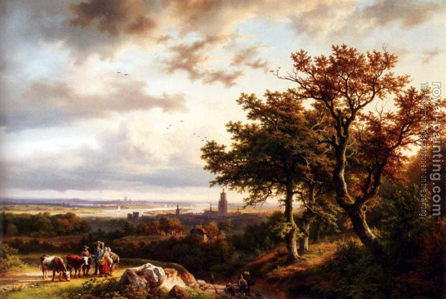 Barend Cornelis Koekkoek : A Panoramic Rhenish Landscape With Peasants Conversing On A Track