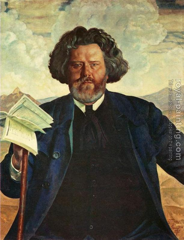 Boris Kustodiev : Portrait of the Poet M. Voloshin