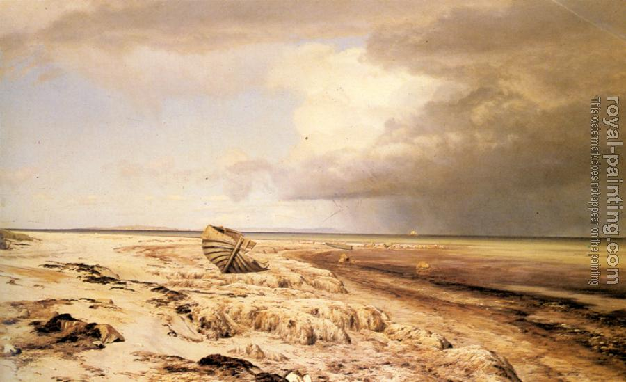 Janus Andreas Bartholin La Cour : Deserted Boat on a Beach