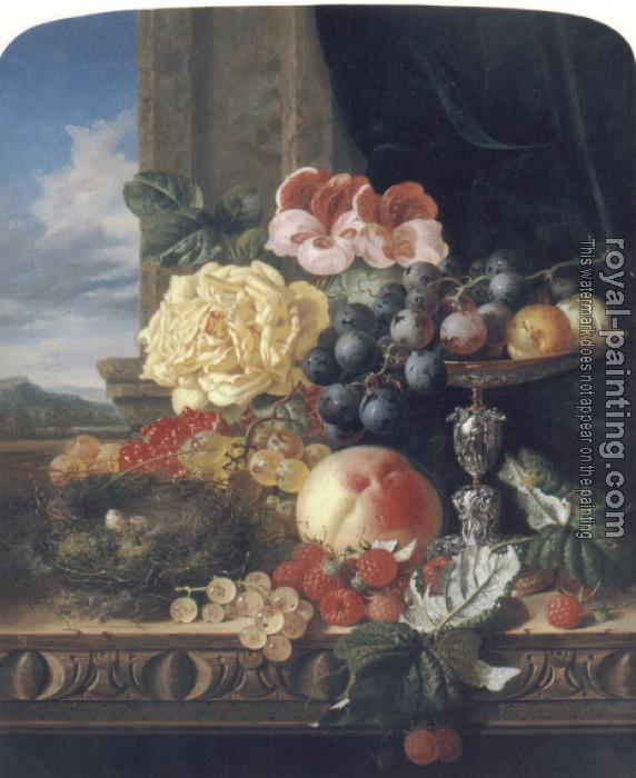 Edward Ladell : Still Life with Fruit, Flowers and a Bird's Nest
