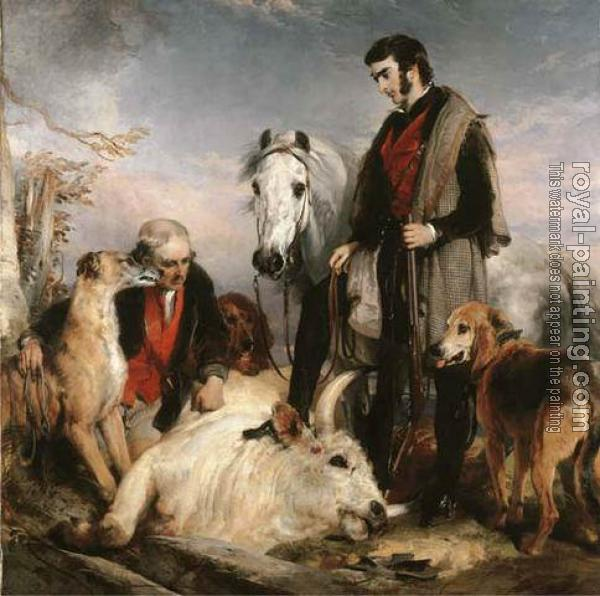Sir Edwin Henry Landseer : Scene in Chillingham, Park Portrait of Lord Ossulston, or death of the wild bull