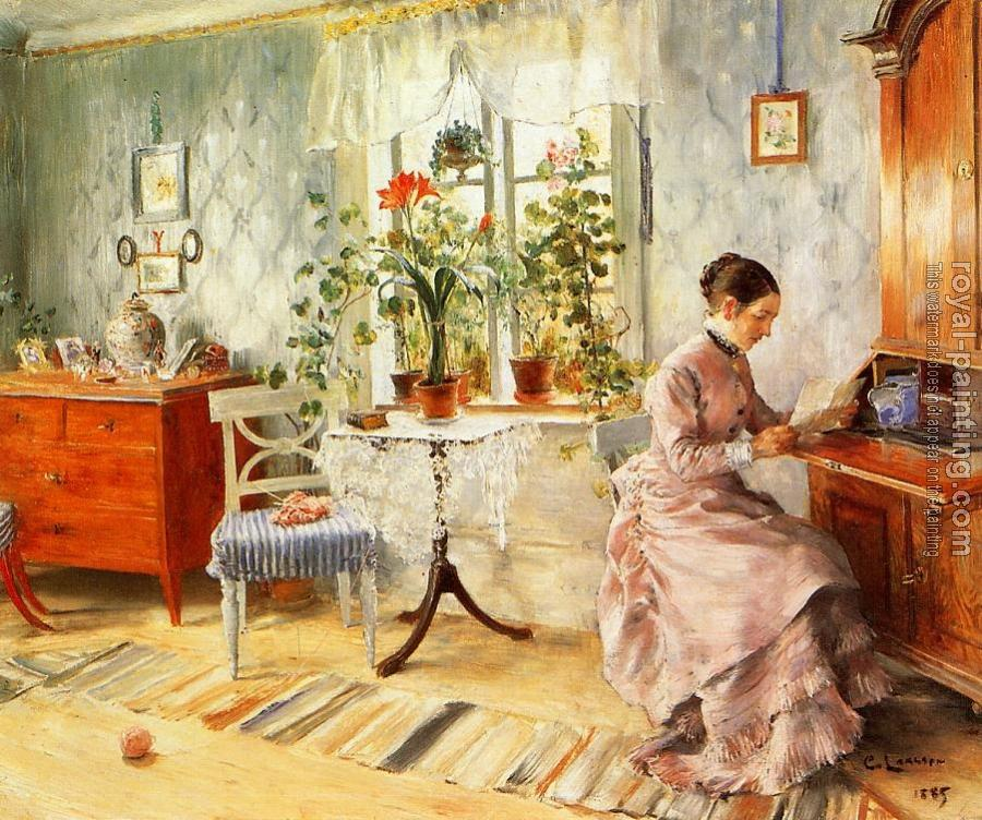 Carl Larsson : An Interior with a Woman Reading