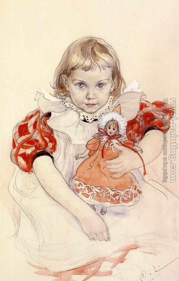 Carl Larsson : A Young Girl with a Doll