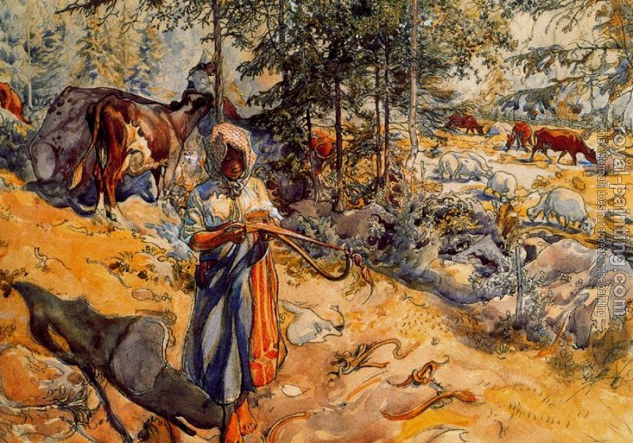 Carl Larsson : The Cowgirl in the meadow