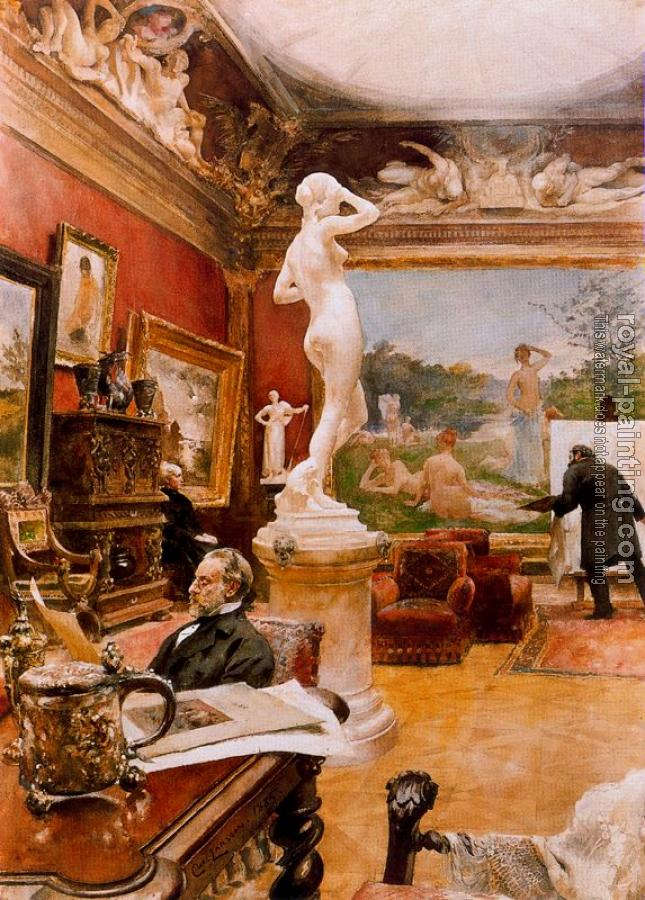 Carl Larsson : Interior of the gallery Furstenberg in Goteborg