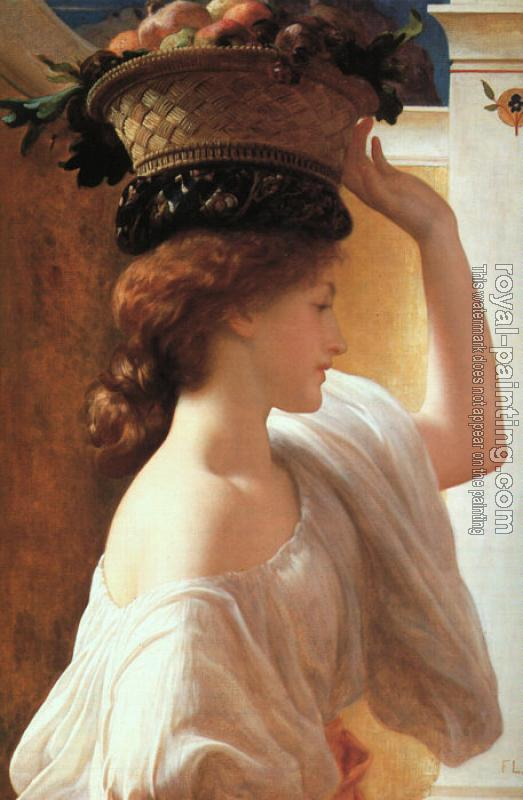 Lord Frederick Leighton : A Girl with a Basket of Fruit