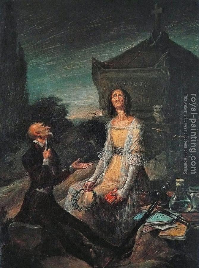 Satire Of Suicide From Love By Leonardo Alenza Oil Painting