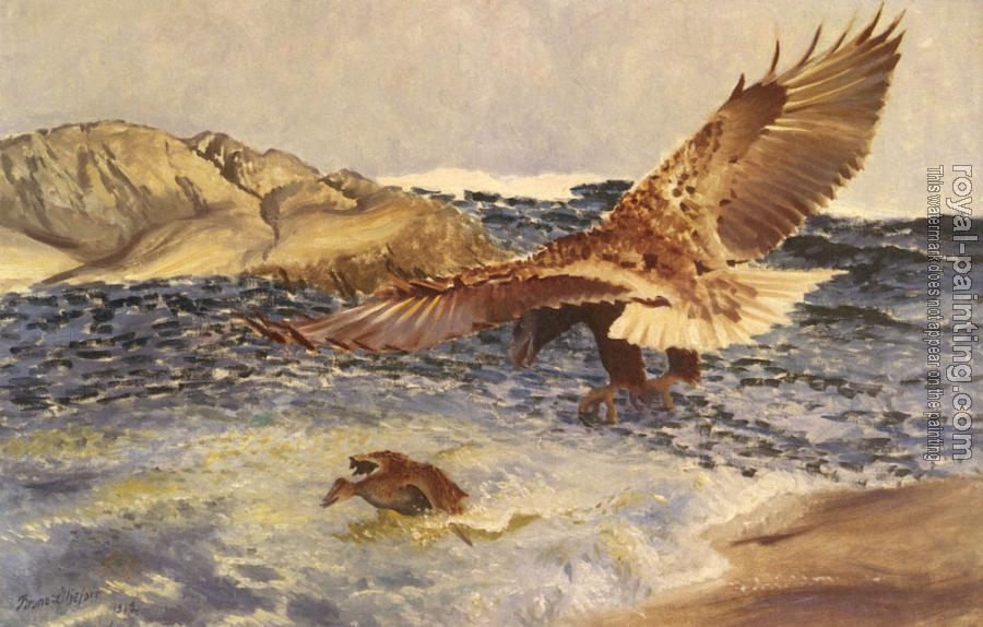 Bruno Liljefors : A Sea Eagle Chasing Eider Duck