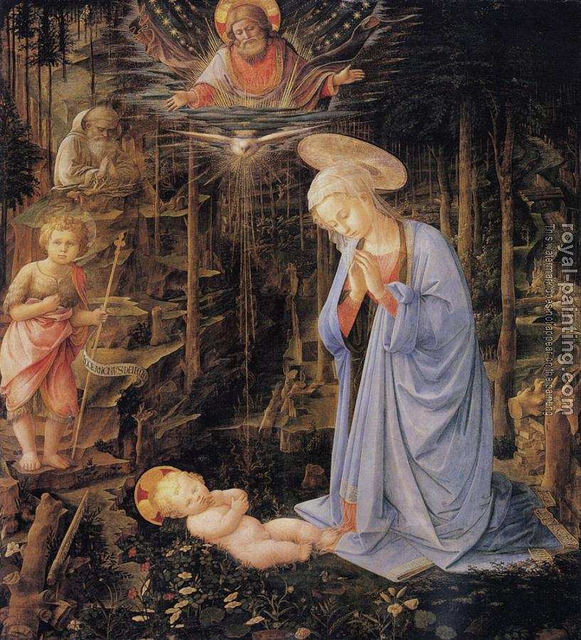 Filippino Lippi : The adoration with the infant Baptist and St Bernard