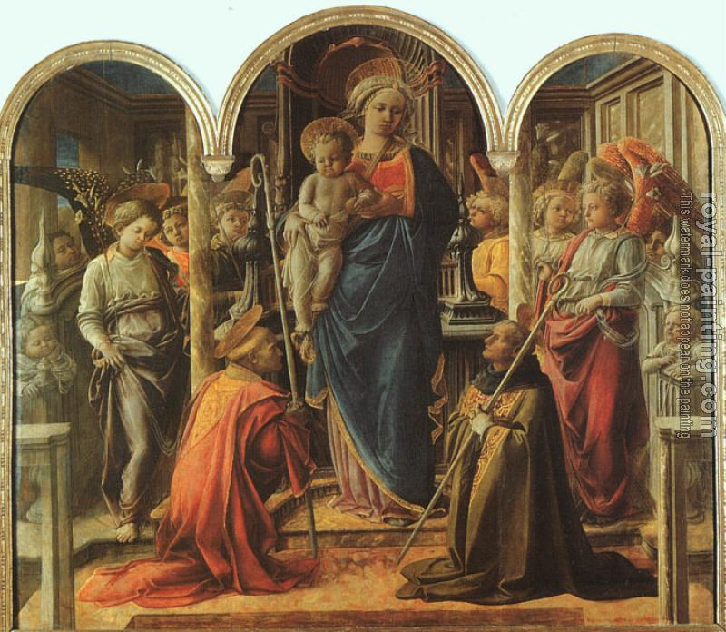 Fra Filippo Lippi : The Barbadori Altarpiece: Virgin and Child Surrounded by Angels with St Frediano and St Augustine