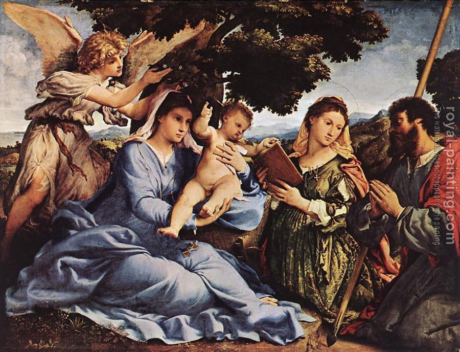 Lorenzo Lotto : Madonna and Child with Saints and an Angel