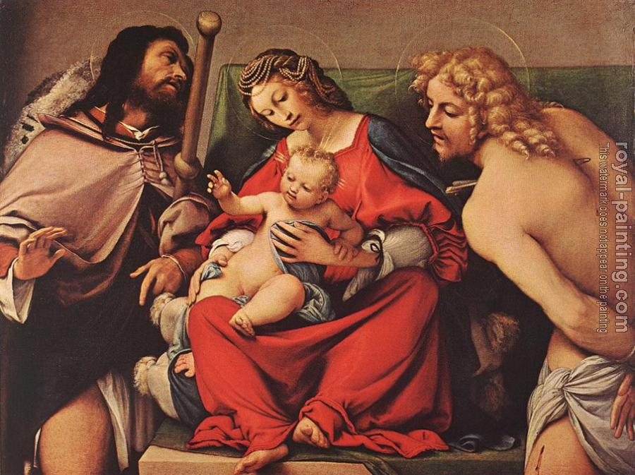 Lorenzo Lotto : Madonna with the Child and Sts Rock and Sebastian