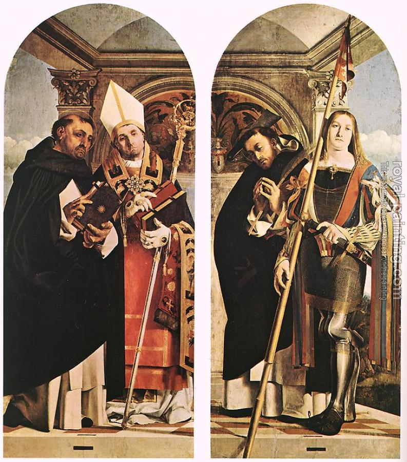 Lorenzo Lotto : Sts Thomas Aquinas and Flavian, Sts Peter the Martyr and Vit