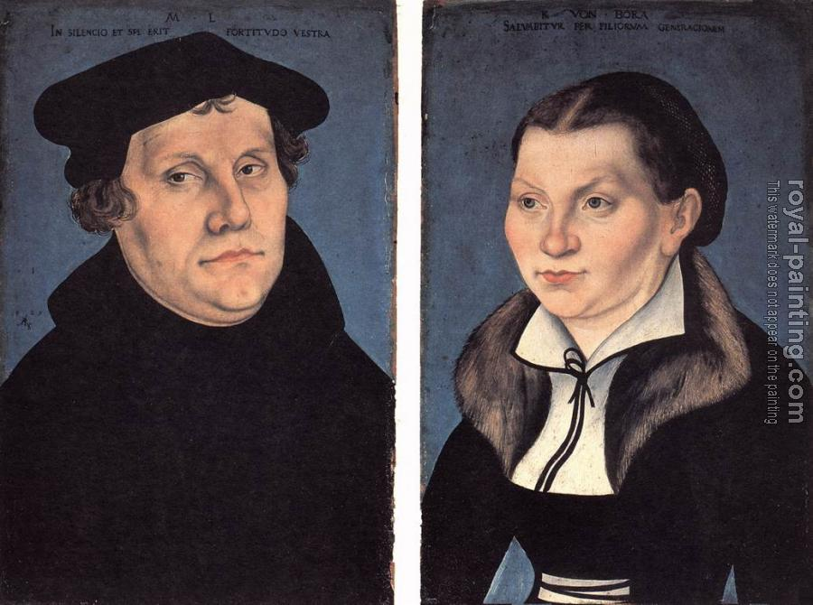 Lucas Il Vecchio Cranach : Diptych with the Portraits of Luther and his Wife