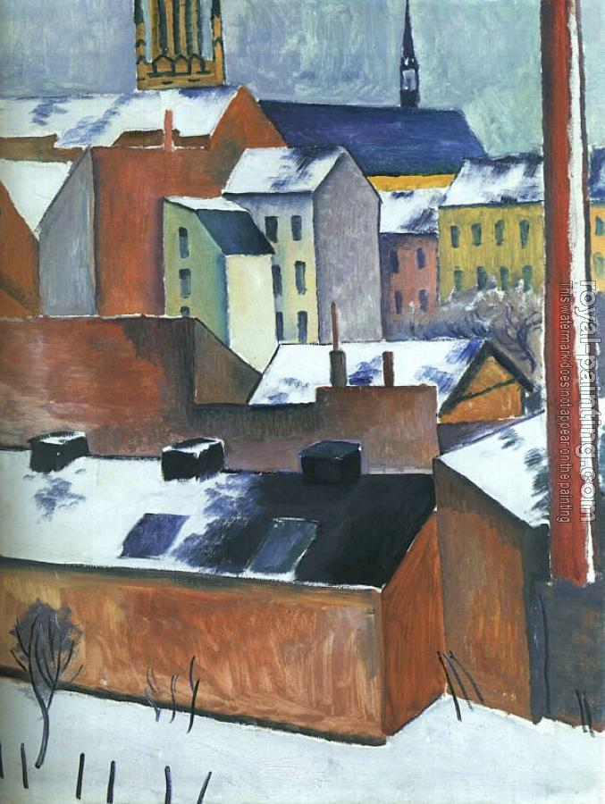 August Macke : The Church of St Mary in Bonn in Snow