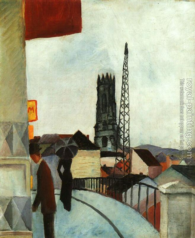 August Macke : Catedral of Freiburg in the Switzerland