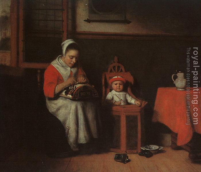 Nicolaes Maes : The Lacemaker
