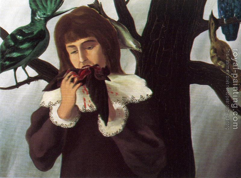 Rene Magritte : girl eating a bird