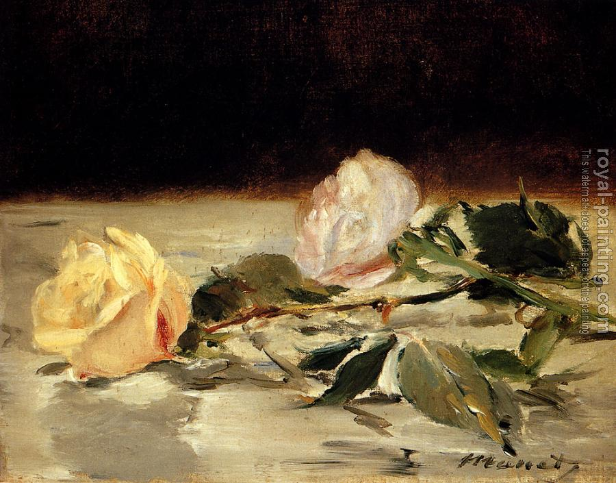 Edouard Manet : Two Roses On A Tablecloth